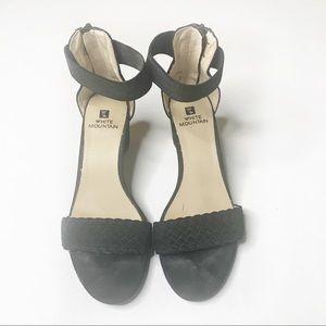 White Mountain Black Wedge Strappy Heel Black